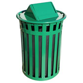 Oakley Slatted Metal Waste Receptacle with Swing Top Lid, Plastic Liner, 28'' Dia. x 44-3/10''H, 50 gal, Green