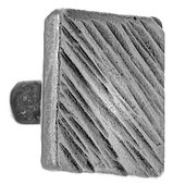 Iron Art Square Knob with Diagonal Lines, 1-1/32'' W x 1-3/16'' D x 1-1/32'' H, Brushed Nickel
