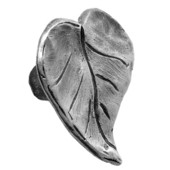 Solid Pewter Dogwood Leaf Pull Knob, 1-1/4'' W x 13/16'' D x 1-5/8'' H