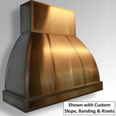 Arcata Ceiling Mounted Island Range Hood, Copper - Customizable in Multiple Sizes & Finishes