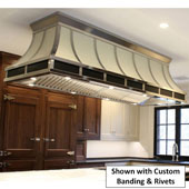 Flare Ceiling Mounted Island Range Hood, Stainless Steel, Powder Coated - Customizable in Multiple Sizes & Finishes