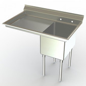 Aero NSF Deluxe Stainless Steel Workstation, 52-3/10''W x 30''D x 42-1/2''H, with a 18''W Sink and a 30''W Drainboard