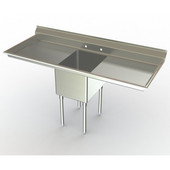 Aero NSF Deluxe Workstation, 63''W x 30''D x 42-1/2''H, with a 24''W, and two 18''W Drainboards