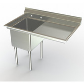 Aero NSF Free Standing Sink Work Station, 40-3/10''W x 30''D x 42-1/2''H, with 18''W Sink with 18''W Side Board