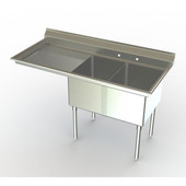 Aero NSF Deluxe Dual Bowl Workstation, 66-1/4''W x 27''D x 42-1/2''H with 32''W Sink and 30''W Left Drain Board