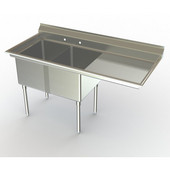 Aero NSF Deluxe Dual Bowl Workstation, 88-1/4''W x 30''D x 42-1/2''H with 48''W Sink and 36''W Drain Board