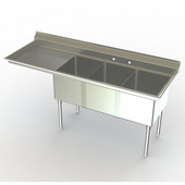Aero NSF Deluxe Triple Sink Workstation, 94-1/4''W x 26''D x 42-1/2''H with a 60''W Sink and a 30''W Sideboard