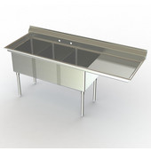Aero NSF Triple Bowl Work Station, 76-1/4''W x 30''D x 42-1/2''H, with 54''W Sink and 18''W Sideboard