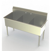 Aero Non-NSF Deluxe Triple Bowl Sink, 39''W x 21-1/2''D x 42-1/2''H