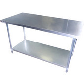 Aero Work Table w/ Lower Shelf and 2-1/4'' Backsplash, 96'' W x 30'' D