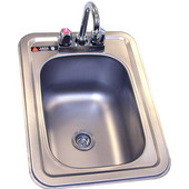 Aero stainless steel hand sink with faucet. Drop-in, Stainless Steel, 14-1/2''W x 19-3/4''D x 10''H