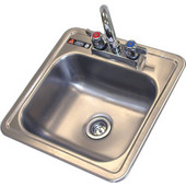 Aero 15'' wide Stainless Steel drop in sink with faucet and strainer basket