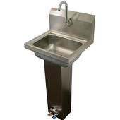 Aero Stainless Steel Pedestal Foot Pedal Utility Sink with Faucet and Strainer, 17''W x 15''D x 43-1/2''H