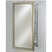 Basix Collection Frameless Single Door Recess/Wall Surface Medicine Cabinet, 16'' x 22'', Brushed Silver, Right Hinge