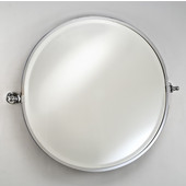Round Framed Gear Tilting Wall Mirror with Satin Nickel Brackets