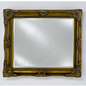 Royale Wood Framed Rectangular Mirror, 42''W x 34''H, Antique Gold