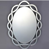 Modern Luxe Collection Oval Contemporary Openwork Mirrored Glass Decorative Wall Mirror, 24'' Diameter x 31'' H
