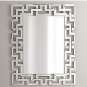 Modern Luxe Collection Rectangle Contemporary Openwork Mirrored Glass Decorative Wall Mirror, 32'' W x 3/4'' D x 42'' H