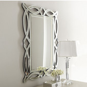 Modern Luxe Collection Scallop Contemporary Openwork Mirrored Glass Decorative Wall Mirror, 32'' W x 3/4'' D x 42'' H