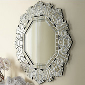 Radiance Venetian Collection 32'' W x 32'' H Octagonal Mirror in Cut Glass & Etched