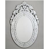 Oval Radiance Venetian Wall Mirror with Etched Glass Frame