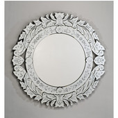Round Radiance Venetian Wall Mirror with Etched Glass Frame