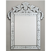 Rectangular Radiance Venetian Wall Mirror with Etched Glass Frame