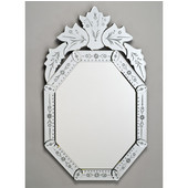 Octagonal Radiance Venetian Wall Mirror with Etched Glass Frame