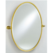 Radiance Collection 18'' x 26'' Oval Framed Brass Gear Style, with Tilt Brackets & Polished Chrome Trim