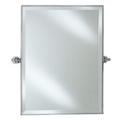 Large Radiance Rectangular Framed Gear Tilting Wall Mirror with Satin Nickel Brackets, 24'' W x 36'' H