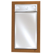 Signature Collection Single Door Medicine Cabinet w/ Contemporary Light, 3 Glass Shelves, Left Hinge, Surface Mount, Arlington Cherry, Group A, 17'' x 40'' (Other Finishes and Options Available)