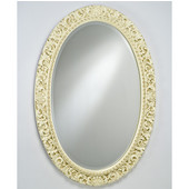 Timeless Traditional Decorative Framed Oval Wall Mirror, Antique Silver, 42''W x 24''H