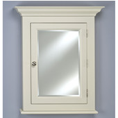 Wilshire I Small Wall Surface Mount Bathroom Medicine Cabinet, 22''W x 4''D x 27-1/8''H, Satin Biscuit, Right Hinge
