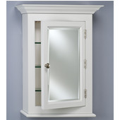 Wilshire I Small Wall Surface Mount Bathroom Medicine Cabinet, 22''W x 4''D x 27-1/8''H, Satin White, Right Hinge