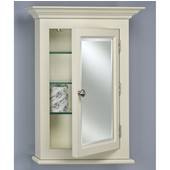 Wilshire II Large Traditional Wood Semi Recessed Bathroom Medicine Cabinet, 25-3/4''W x 7''D x 30-1/8''H, Satin Biscuit, Right Hinge