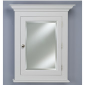 Wilshire II Large Traditional Wood Semi Recessed Bathroom Medicine Cabinet, 25-3/4''W x 7''D x 30-1/8''H, Satin White, Right Hinge