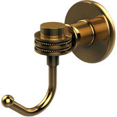 Continental Collection Robe Hook with Dotted Accents, Polished Brass