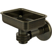 Continental Collection Wall Mounted Soap Dish Holder with Dotted Accents, Antique Brass