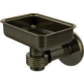 Continental Collection Wall Mounted Soap Dish Holder with Groovy Accents, Antique Brass