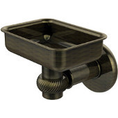 Continental Collection Wall Mounted Soap Dish Holder with Twist Accents, Antique Brass