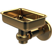 Continental Collection Wall Mounted Soap Dish Holder with Twist Accents, Polished Brass