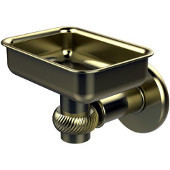 Continental Collection Wall Mounted Soap Dish Holder with Twist Accents, Satin Brass