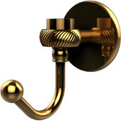 Satellite Orbit One Robe Hook with Twisted Accents, Unlacquered Brass