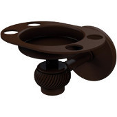 Satellite Orbit One Tumbler and Toothbrush Holder with Twisted Accents, Antique Bronze