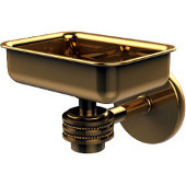 Satellite Orbit One Wall Mounted Soap Dish with Dotted Accents, Unlacquered Brass