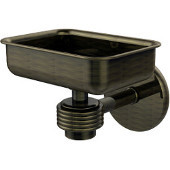 Satellite Orbit One Wall Mounted Soap Dish with Groovy Accents, Antique Brass