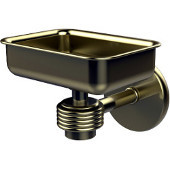 Satellite Orbit One Wall Mounted Soap Dish with Groovy Accents, Satin Brass