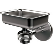 Satellite Orbit One Wall Mounted Soap Dish with Groovy Accents, Satin Chrome