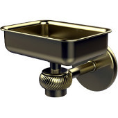 Satellite Orbit One Wall Mounted Soap Dish with Twisted Accents, Satin Brass
