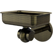 Satellite Orbit Two Collection Wall Mounted Soap Dish with Twisted Accents, Antique Brass